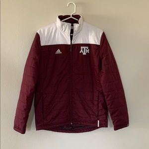 Maroon and White Texas A&M Puffer Jacket